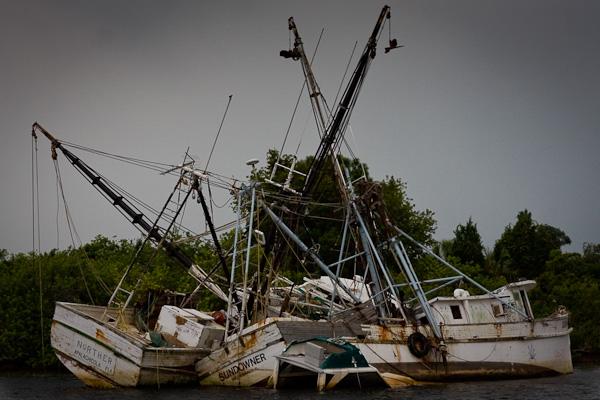 Fishing Boats left abandoned at Tarpon Springs Fl.