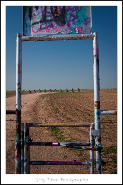 Cadillac Ranch as seen from the gate.