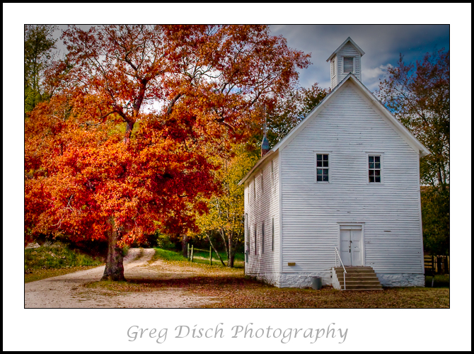 The flaming Red Maple tree towers over the Boxley Valley Baptist Church, built around 1840 and  has remained continuously active. The church lies within the Buffalo National River boundaries near Jasper Arkansas.   Giclee Fine Art  Gallery Wrap Canvas Print 24 x 36