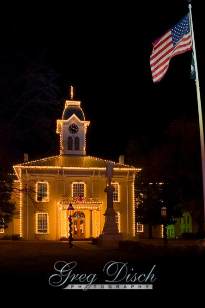 Crawford County Courthouse in Van Buren Arkansas with holiday lights.