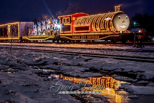 The KCS railroad Holiday Express train in Poteau Oklahoma.