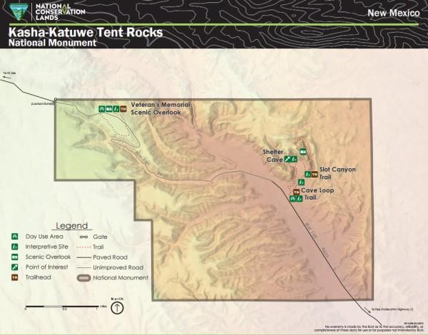 Tent Rocks map