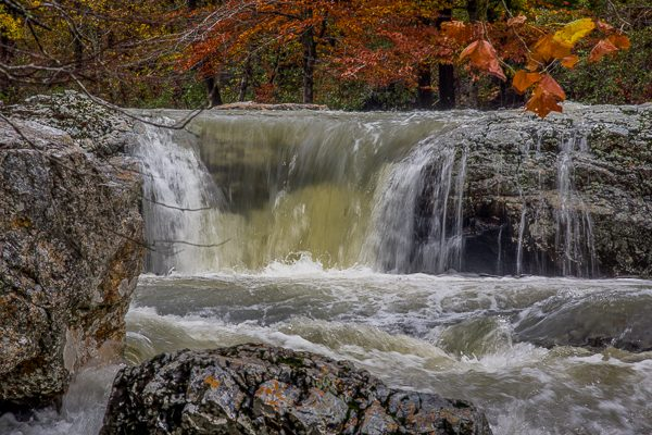 Little Missouri Falls after a heavy rain, in the Ouchita National Forest in Arkansas during the fall.